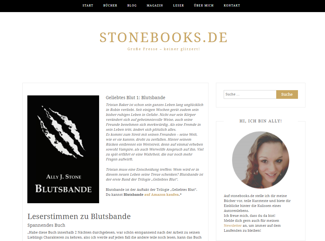 Marketing: Landingpage Buch Blutsbande